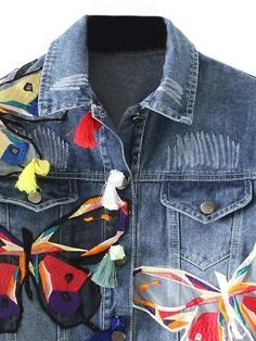 Blue Light Wash Butterfly Patches Long Sleeve Denim Jacket | WithChic