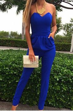 Stylish Strapless Off The Shoulder Solid Color Jumpsuit For Women