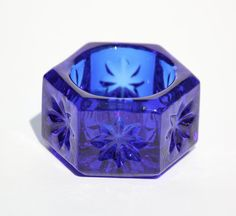 Vintage MOSSER Glass Hexagon Open Salt Cellar Dish Cobalt Blue MINT.