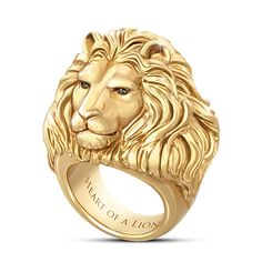 """Black Gold Jewelry Heart Of A Lion Ring - gold ion-plated solid stainless steel men's ring features sculpted lion head set with black sapphires. Etched with """"Heart of a Lion. Mens Gold Rings, Rings For Men, Fashion Bracelets, Fashion Jewelry, Fashion Ring, Gold Fashion, Men Fashion, Latest Fashion, Heart Of A Lion"""