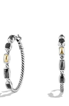 David Yurman 'Confetti' Hoop Earrings with Crystal, Black Diamonds and Gold available at #Nordstrom