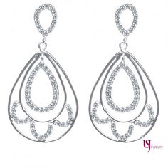 Glamorous Dangle Drop 0.50 Carat Round Cut Diamond Earrings 14k White Gold
