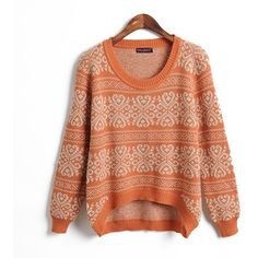orange irregular pullover ❤ liked on Polyvore featuring tops, sweaters, shirts, jumpers, knit pullover sweater, orange shirt, shirt sweater, knit shirt and red shirt
