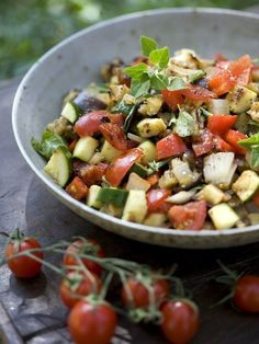 """""""The Biggest Loser"""" salad that almost no one can get enough of. 1 head fresh lettuce, 1 bunch fresh basil, 2 fresh in-season tomatoes, 1 cucumber, 1/4 red onion. For dressing-1/3 cup olive oil, 4 tbsp lemon juice,1 tsp honey, salt and pepper, to taste"""