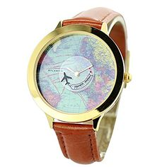 Fq001 Airplane World Map Design PU Leather Strap Womens Quartz Causal Wrist Watches Brown 001 -- Details can be found by clicking on the image.Note:It is affiliate link to Amazon. #beautiful