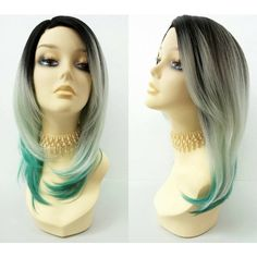 15 Inch Lace Front Light and Dark Teal Green Ombre Mermaid Fashion Wig... ($60) ❤ liked on Polyvore featuring wig, bath & beauty, grey and hair care