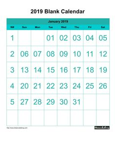 Free Blank Calendar 2019 Portrait Orientation with large font center align one month per page Sunday to Saturday with header light seagreen background color