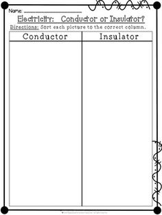 Electricity Conductors or Insulators Cut and Paste Sorting