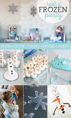 Love ALL these great Frozen party ideas, but the mini powdered donuts 1st caught my eye. Olaf treats! I wouldn't put carrots though, perhaps candy corn instead...