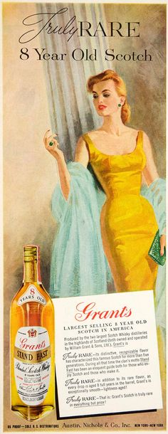1960 Ad Grant's Stand Fast Scotch Whisky Liquor Woman Vintage 60s Fashion Dress