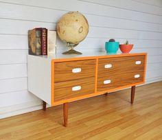 Retro sideboard with neon orange trim. Upcycled DIY furniture redo