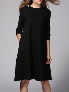 3244dddf5b Black Cotton-blend Crew Neck 3 4 Sleeve Midi Dress