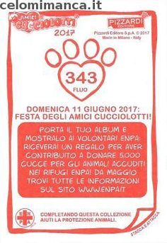 Amici Cucciolotti 2017: Retro Figurina n. 343 -