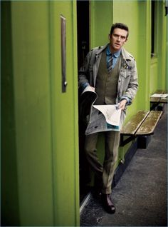 Actor Dan Stevens wears a vest and trousers by POLO Ralph Lauren. In exchange for a sport coat, Stevens dons a military jacket from the brand with Tom Ford boots.