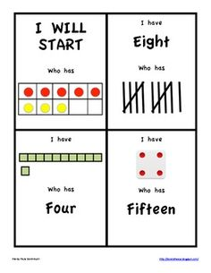 This is a set of I have who has cards for numbers 1-20 using number words, ten frames, dice, base ten, digits.