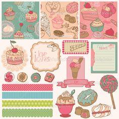 Elementos De Design Scrapbook  Bolos Doces E Sobremesas Vetor cakepins.com