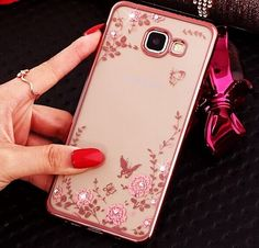 Cheap Diamonds Samsung Galaxy J1 J5 J7 A5 A7 2016 S5 S6 S7 edge Plus Note 4 5 Gold Frame Clear Case & Pink Flower Bling Electroplating Soft TPU Cases Cover For Samsung iPHONE