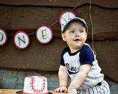 Vintage Baseball Style Shirt with Navy Sleeves and age embroidered in baseball style font great for birthday parties