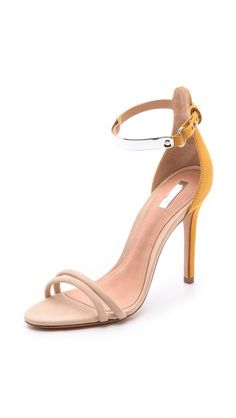 A beautiful ivory/butternut high-heeled #sandal that will work with everything - this one by @Valerie Schutz and available at Shopbop