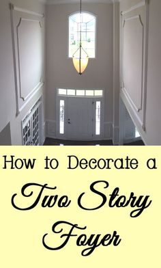 If your foyer or entryway has a very tall ceiling, decorating it may seem daunti. If your foyer or entryway has a very tall ceiling, decorating it may seem daunting. Here are a few tips and tricks for decorating your two story foyer. Tall Wall Decor, Foyer Wall Decor, Tall Ceiling Decor, Bedroom Decor, Foyer Chandelier, Foyer Lighting, Chandelier Ideas, Lighting Ideas, Waynes Coating