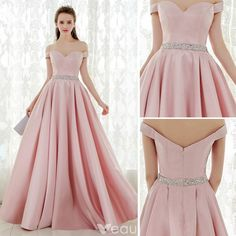 2c894dd0b58 Modern   Fashion Champagne Blushing Pink Prom Dresses 2017 Ball Gown Scoop  Neck Sleeveless Appliques Lace Rhinestone Bow Sash Floor-Length   Long  Ruffle ...