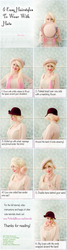 6 Hairstyles to wear with hats | Violet LeBeaux- Cute Free Craft Tutorials
