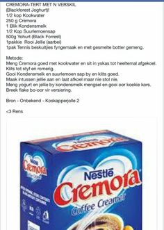 Cremora Tert met 'n Verskil Tart Recipes, Cheesecake Recipes, Baking Recipes, Cookie Recipes, South African Desserts, South African Recipes, Kos, Fridge Cake, Milk Tart