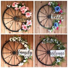 This item is unavailable Wagon Wheel Farmhouse Hello Spring Floral Wreath, Modern Farmhouse, Hand Painted Wood Sign, Metal Wr Diy Wreath, Door Wreaths, Yarn Wreaths, Tulle Wreath, Floral Wreaths, Burlap Wreaths, Wagon Wheel Decor, Painted Wood Signs, Hand Painted