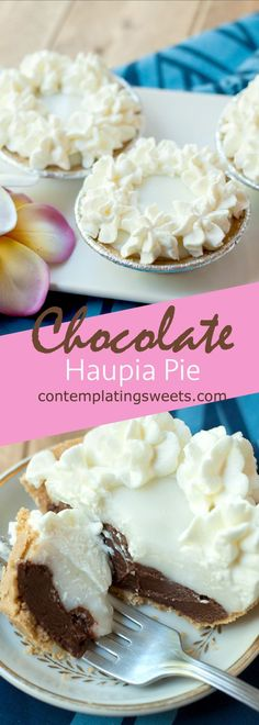 A popular Hawaiian dish, chocolate haupia pie is made with a chocolate coconut layer, a coconut layer, and a whipped cream topping in a graham or pie shell.