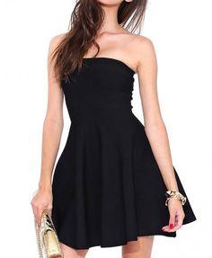 63f5131d521 Shop Strapless Off Shoulder Solid Color Dress at victoriaswing