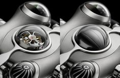 Horological Machine is an impressive watch with biomorphic curves, animated spheres, capped by sapphire crystal domes and a 'winking' eye and beating heart (tourbillon). Space Pirate, 230, Space Travel, Luxury Watches, Calf Leather, Pirates, The Originals, Elegant, Perfect Marriage