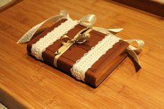Ring Bearer Bible Brown, Ivory Lace & Gold. Vintage Decor. Wedding Ring Pillow Alternative. via Etsy