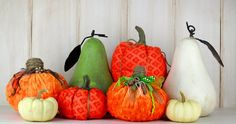 No Sew!  Use your left over fabric and ribbon scraps to create fun fall decorations with ease. Supplies are  a hot glue gun, fabric, ribbons, jute, polyfil and…