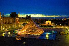 Impressions of Paris Louvre Pyramid Blue Hour by Georgia Mizuleva, FAA