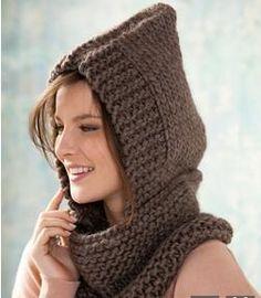 pattern knit crochet woman hooded cowl autumn winter katia 8020 97 g Knitted Headband, Knitted Hats, Laine Katia, Knitting Patterns, Crochet Patterns, Knit Crochet, Crochet Hats, Crochet Woman, Hooded Cowl