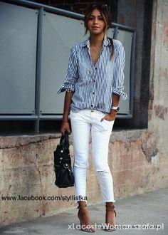 białe spodnie rurki stylizacje - Szukaj w Google