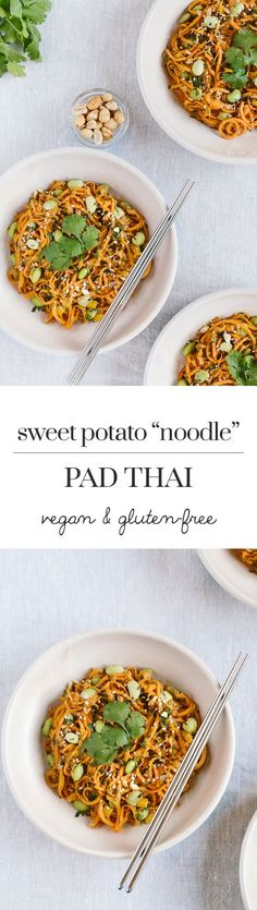 "Sweet Potato Noodle Pad Thai: A vegan and gluten-free pad thai recipe made with sweet potato ""noodles""."