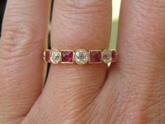 French cut ruby and OEC diamond eternity
