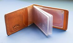 Leather card holder with plastic case by LeatherAtelierLeven