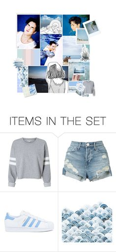 """summertime blues ; "" by jocelove ❤ liked on Polyvore featuring art, EXO and xiumin"