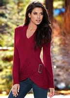 cabled front buckle sweater