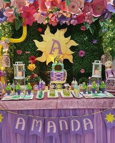 From One Inspired Party ( Rapunzel Birthday Party, Disney Princess Birthday, Tinkerbell Party, Princess Party, Princess Sophia, Birthday Party Centerpieces, Birthday Decorations, Birthday Party Themes, 4th Birthday