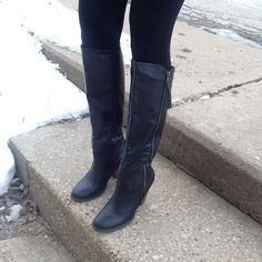 NWT Black Mia Knee High Boots Size 8.5 So chic! MIA Shoes Heeled Boots