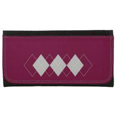 dark pink and white argyle pattern wallets