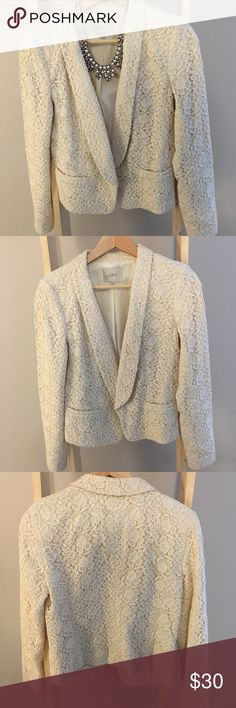 LOFT Cream Lace Blazer LOFT Lace blazer - cream colored. Two functional pockets. 100% cotton. Used excellent condition. Open to offers, thanks for shopping in my closet 😘 LOFT Jackets & Coats Blazers
