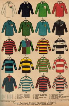 """Here is an early XXth century rugby print from Boy's Own Magazine. This colourful plate shows """"some famous rugby football jerseys"""". As the caption is difficult to read (I should re-up a hi-res picture very soon.), let me identify them. Estilo Ivy, Rowing Blazers, Estilo Preppy, Ivy League Style, Ivy Style, Rugby League, Harris Tweed, Football Jerseys, Preppy Style"""