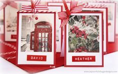 Christmas Place Cards: I love the use of the Dymo tape--very creative!