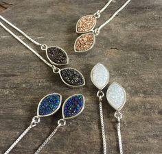 Druzy Earrings, Threader Earrings, Druzy Threaders, Druzy Quartz Jewelry, Sterling Silver Threaders, Chain Earrings