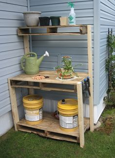 Garden and Patio, Reclaimed Wood Outdoor Potting Bench With Storage And Shelf In The Backyard Corner House Design Ideas ~ Potting Bench with Storage