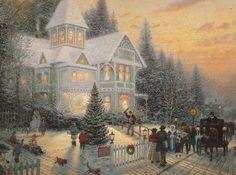 Thomas Kinkade Art, Thomas Kinkade Christmas, Victorian Christmas, Vintage Christmas, White Christmas, Christmas Puzzle, Merry Christmas, Christmas Time, Christmas Music
